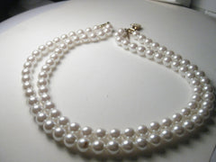 Vintage Double Strand Napier Signed Faux Pearl Choker - Looks New