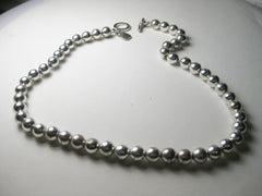 "Vintage Ralph Lauren signed silvertone beaded ball 16.5"" necklace, toggle clasp"