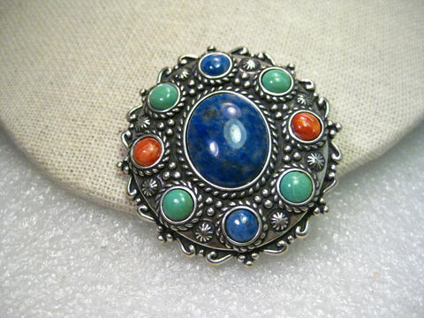 Vintage Retired Carolyn Pollack  Relios Sterling Silver Lapis Lazuli Brooch Pendant with other hardstones.