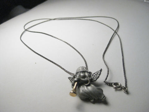 "Vintage Pewter Angel & Horn Necklace,  28"", Signed"
