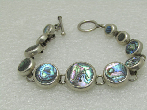 "Vintage Sterling Mexican Abalone Bracelet, Round Graduated, 8.25"", 34.30 gr."