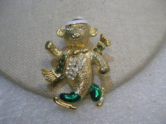 Gold Tone Skating Santa Bear Brooch, 1970's, Enameled with Rhinestones, 2""