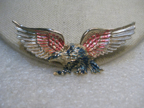"Vintage American Eagle Brooch, Red/White/Blue Enameled Accents, 3"", 1970's"