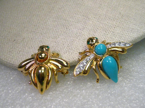 Vintage  Two Joan Rivers Interchangeable Brooches, One Goldtone & One with CZs, 12 gem stone like stones