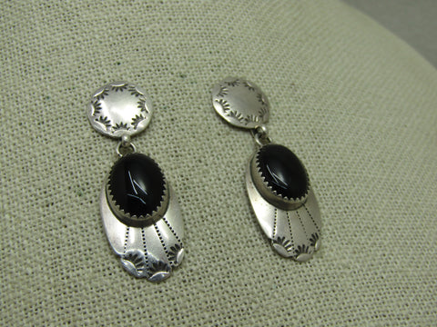 "Vintage Sterling Southwestern Onyx Earrings, Pierced, Stud & Dangle, 1.75"", 7.15 gr., 1970's-1980's"