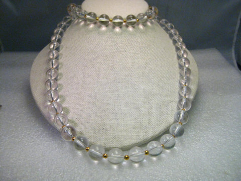"Vintage Joan Rivers 34"" Gold Tone  Clear 11.5mm Beaded Necklace, Lobster Clasp"