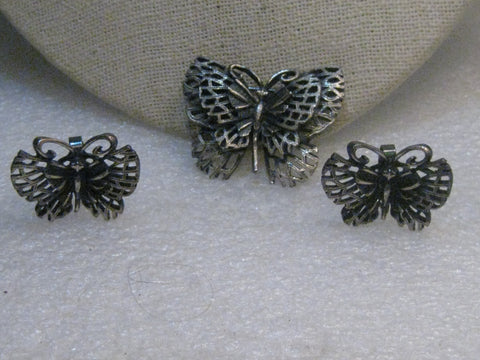 Vintage Butterfly Brooch & Clip Earring Set, Pewter-Like, 1960's/1970's