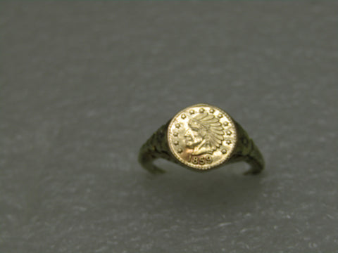 Vintage 14kt 1859 California Gold Token Ring, Size 4, 2.20gr, 9.9mm, Victorian Style Signet Ring