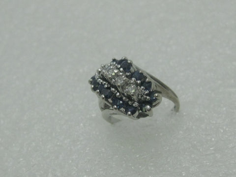Vintage 14kt Diamond Sapphire Ring, Waterfall Cluster, sz. 3, 4.09 grams, White Gold