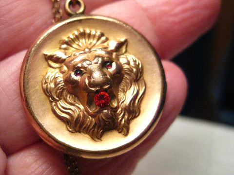 "True Victorian Gold Filled Lion Locket on 16"" Chain, 1800's, signed F & B"