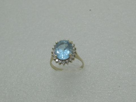 14kt Blue Topaz Diamond Halo Ring, Size 9, 4.84 gr., 7.45 TCW, 1980's
