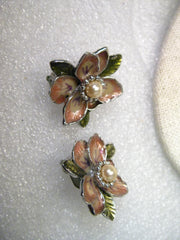 Vintage Joan Rivers Enameled Floral Gold Clip Earrings, Faux Pearl Center, Magnolias - 1.25""