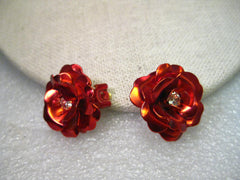 VIntage Joan Rivers Red Rose Clip Earrings, Rhinestone Center - Candy Apple Red