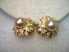 Vintage Joan Rivers Gold Tone Faux Pearl & Rhinestone Blossom Clip Earrings