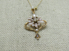 "10kt Edwardian Freshwater Pearl Necklace, 14kt Gold Chain, 18.5"", 1900-1910, Signed"
