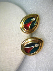 Vintage Joan Rivers Stained Glass Clip Earrings, Rhinestone Accent - Cathedral Theme