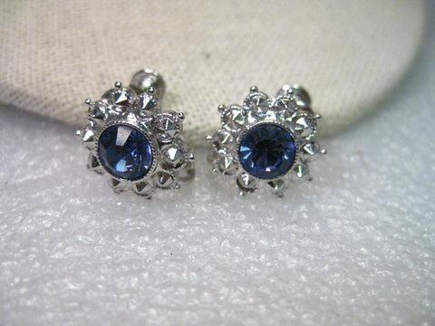 Vintage Joan Rivers Silver Tone Tanzanite Colored CZ and Faux Marcasite Accents Adjustable Clip Earrings