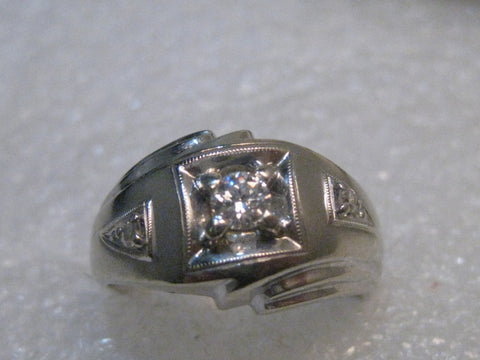 Vintage 14kt White Gold Man's Diamond Ring, size 10.5, 8.01 grams, signed MB Mid-Century