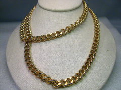 "Vintage Kenneth J. Lane 32"" Heavy Curb Link Necklace with Convertible Faux Pearl Pendant or Brooch - JKL"