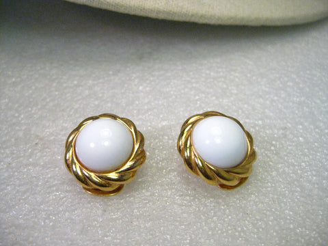 Vintage Kenneth J. Lane Gold Tone White Button Clip Earrings with Rope Frame