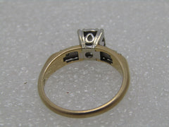 14kt Diamond Engagement Ring, .25 ctw+, size 6.5, Two-Tone, Signed D with Scroll