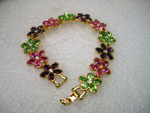 "Vintage Kenneth J. Lane 8"" Rhinestone Flower Link Bracelet, KJL, 3/4"" wide"