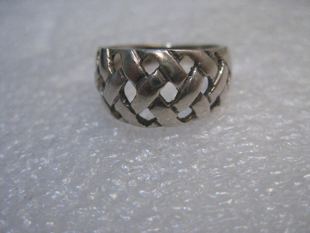 Sterling Silver Wide Woven Ring, 10mm, tapered, size 6, 3.53 grams, Boho appeal
