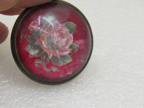 "Vintage Glass Rose Horse Bridle Button/Rosette Brooch, Red w/Rose, 1.5"", 1920's-1930's"