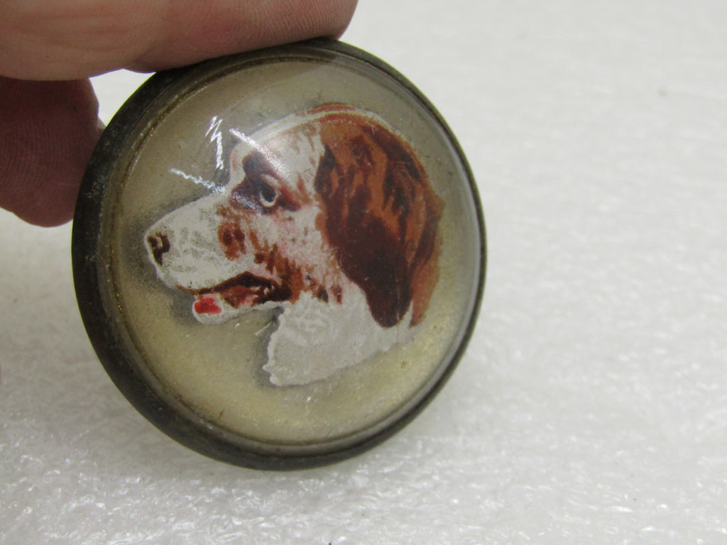 "Bridle Rosette, Vintage Glass Spaniel Bridle Button/Rosettes, 1.5"" Across, .65"" Opening, Domed, Round, 1920's"