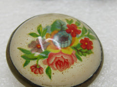 "Vintage Floral Bridle Button/Rosette Brooch, 1.5"" Across, Early 1900's"