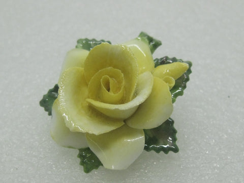 Vintage Crown Porcelain Yellow Rose Brooch, Staffordshire, England, 1960's. 1.75""