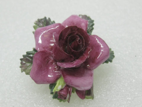 Vintage Crown Porcelain Rose Brooch, Painted, Staffordshire, England, 2""