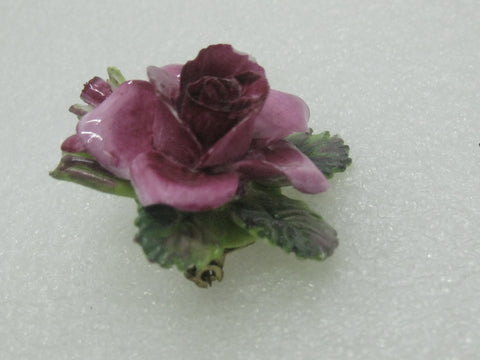 Vintage Crown Porcelain Rose Brooch, Painted, Staffordshire, England, 1.5""