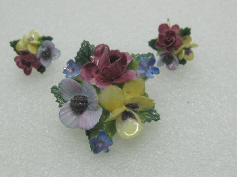 Vintage Crown Porcelain Pansy Brooch & Earrings Set, Mixed Flowers, 1960's,