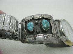 Southwestern Men's Turquoise Watch Tips with Watch, Post mid-Century