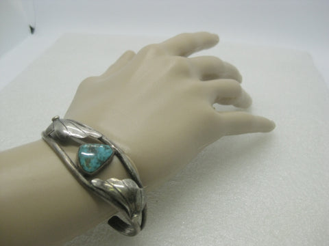 "Southwestern Sterling Turquoise Cuff Bracelet, 6.5"", 16.82 grams, Triangular Stone, 1970's"