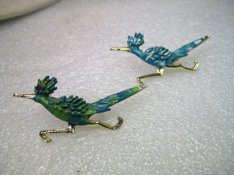Vintage Pair of Enameled Road Runner Brooches, Mid-Century, Blues and Greens