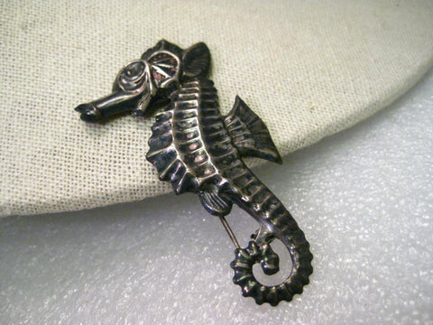 "True Vintage Sterling Silver Seahorse Brooch, 2.5"" and 6.68 gr.  Mid-Century"