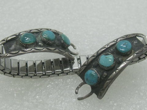 Southwestern Sterling Turquoise Watch Tips/Band, Women's, Stainless Steel Band, Navajo. 1970's