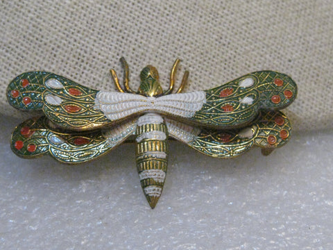 Vintage Enameled Damascene Dragonfly Brooch, Spain, 1960's, 2-1/3""
