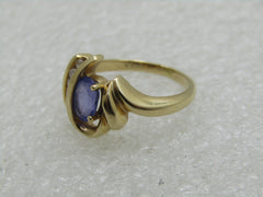18kt Tanzanite Diamond ring, Sz. 5.5, Art Deco to Mod Themed, Signed SGS,