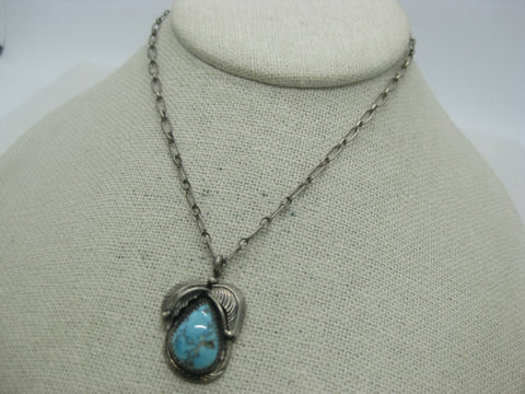 "Southwestern Sterling Turquoise Necklace, Navajo, Vintage, 14.5"", 3.2mm"