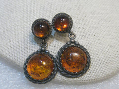 Vintage Sterling Silver Amber Earrings, Pierced Stud & Dangle, Southwestern,  8.77 Gr.
