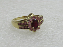 Vintage 14kt Red & Pink Tourmaline Ring, Size 6.25, Halo & Channel Set