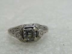 Platinum Art Deco Diamond Engagement Ring, .50 ctw+, sz. 3