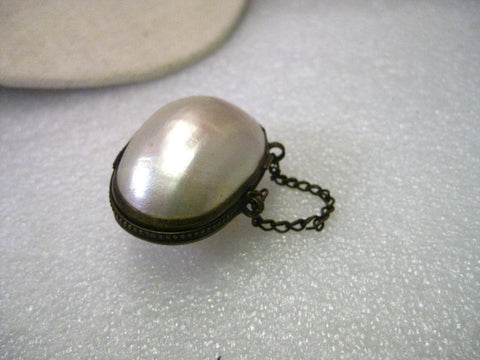 Victorian French Brass Mother-of-Pearl Shell Hinged Purse Chatelaine