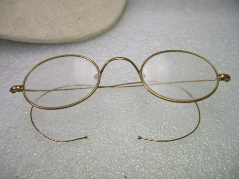 True Vintage 12kt G.F. Wire Rim Glasses, Stevens & Co. , Oval Lenses - Ben Franklin Style