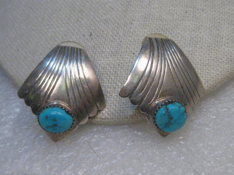 Sterling Silver Southwestern Turquoise Earrings, Pierced, Vintage, 1970-1980's, 10.51 gr. Native American