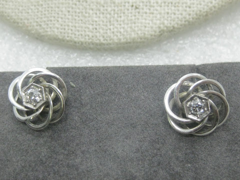 14kt White Gold Diamond Earrings, Spiral Studs, 2.60 Grams, .20 tcw, Screw Clutch