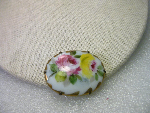 True Victorian Hand Painted Triple Rose Porcelain Brooch with Gold Trim, C-Clasp, 1.5""